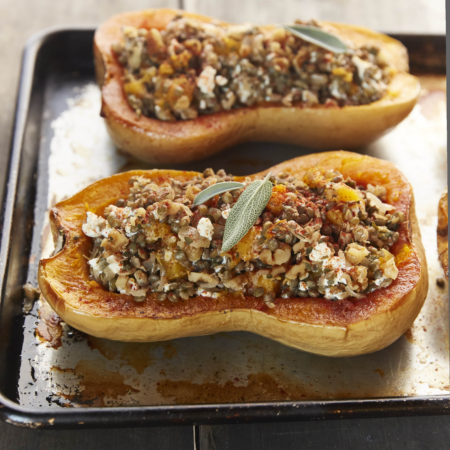 Butternut Squash Stuffed With French Lentils And Walnuts