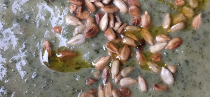 Cream Of Nettle Soup With Toasted Sunflower Seeds