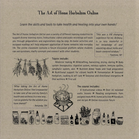 The Art of Home Herbalism Online course booklet back cover, Brittany Wood Nickerson